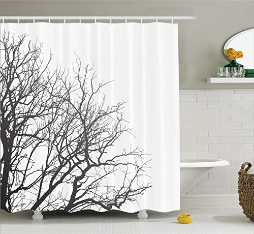 Leafless Tree Branches (House Decor Shower Curtain Set by Ambesonne, Leafless Branches of a Tree in Autumn Picture Dramatic November Days Out Twigs Design, Fabric Bathroom Decor with Hooks, 70 Inches, Black White)
