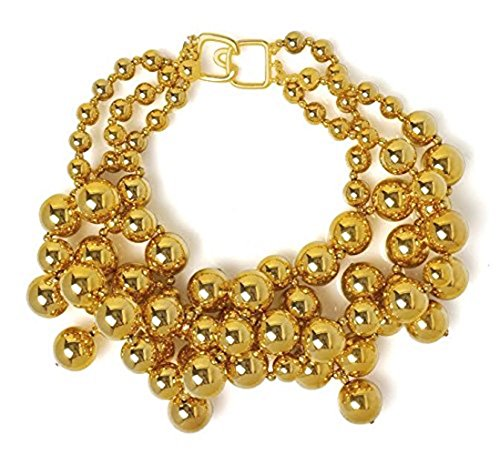 Choker Necklace Bib Metallic Beads with Drops Chunky Costume Fashion Jewelry by Kenneth Jay Lane