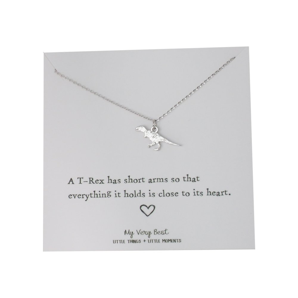 My Very Best Tiny Cute Dinosaur T- Rex Necklace, Sweet Gift Necklace (silver plated brass)