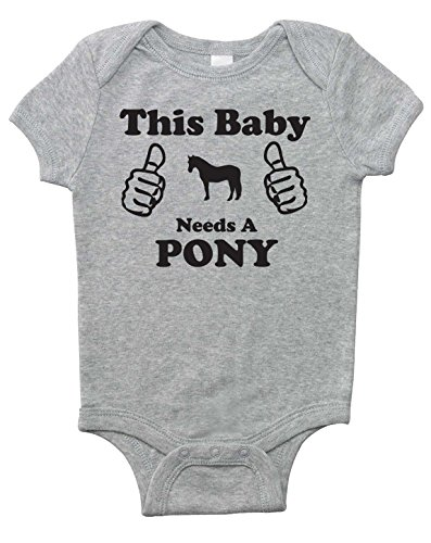 This Baby Needs a Pony - Short Sleeve Horse Bodysuit for Infant Boys Girls and Surprises (Heather Gray, 12 Months)