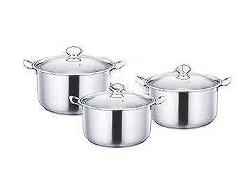 Cacerola metálica de acero inoxidable, 3 piezas, juego de utensilios de cocina plateados, ollas de cocina, sartenes ...