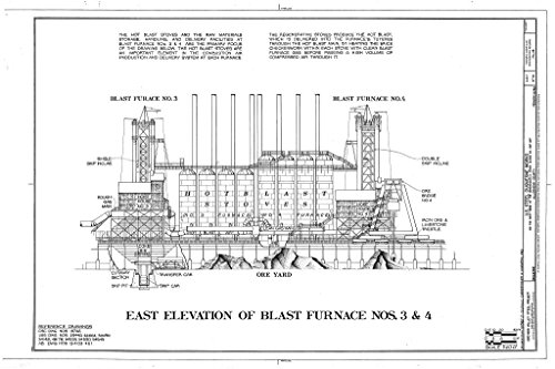 Blueprint Diagram East Elevation of Blast Furnace Nos. 3 and 4 - U.S. Steel Duquesne Works, West bank of Monongahela River along State Route 837, Duquesne, Allegheny County, PA 44in x 30in ()