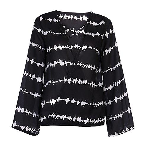Wobuoke Women Loose V Neck Bandage Long Sleeve Shirt Stripe Tops Overlapping Chiffon Casual Blouse Black ()