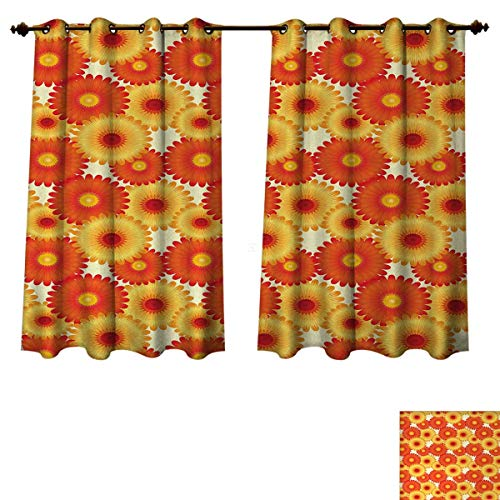 Anzhouqux Orange Blackout Curtains Panels for Bedroom Gerbera Flowers Petals in Graphic Style Vibrant Summer Nature Design Room Darkening Curtains Orange Yellow Scarlet W72 x L72 inch (Flower Petal Design Knob)