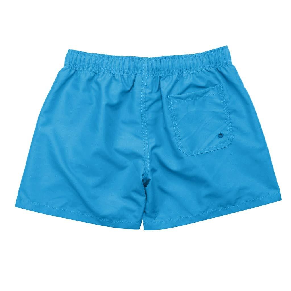 NUWFOR Men Pure Color Splice Stripe Beach Work Casual Men Short Trouser Shorts Pants(Blue,US S Waist:27.56-32.28'')