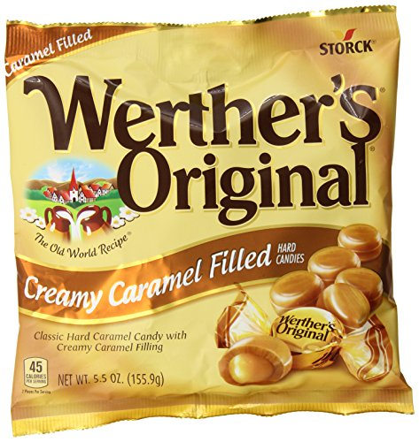 WERTHER'S ORIGINAL Creamy Caramel Filled Hard Candies, 5.5 Ounce Bags (Pack of 12), Hard Candy, Bulk Candy, Individually Wrapped Candy Caramels, Caramel Candy Sweets, Bag of Candy, Hard Candy -