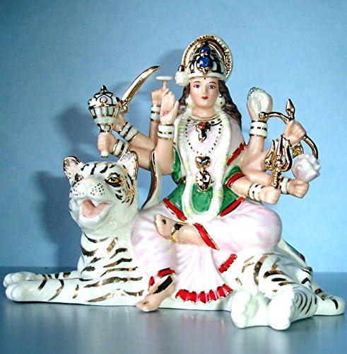 Lenox Durga Hindu Goddess of Strength Figurine Idol White Tiger Battle Queen