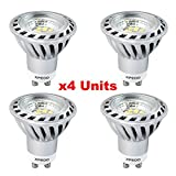 Xpeoo® Pack of 4 Units Gu10 6w Super Bright LED Light Bulb, Equivalent to 50w Halogen Bulb, LED Spotlight, Down Lamp, Energy Saving Recessed Tracking Lamps, Non-dimmable Cool White 4500k