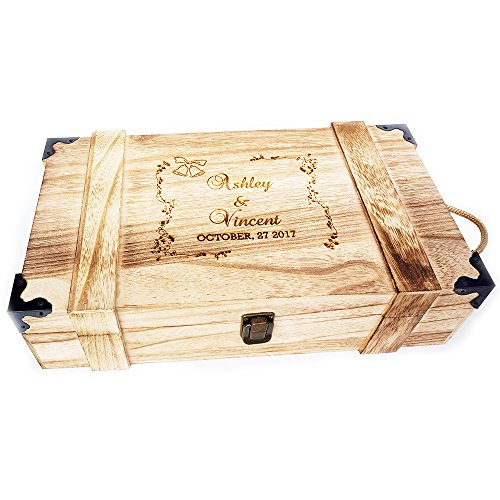 Personalized Wooden Double Wine Box, Wine Carrier for Wedding Ceremony, Wine Boxes For Gifts, Birthday gift
