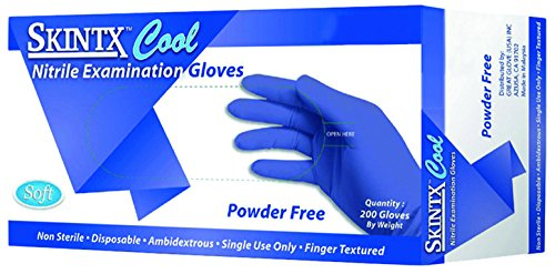 SKINTX CB2-50015-L-BX Nitrile Medical Grade Examination Glove, 3 mil - 4 mil, Powder-Free, Latex-Free, Finger Textured, 200/bx Eco-Friendly Packaging, Cool Blue (Pack of 200)