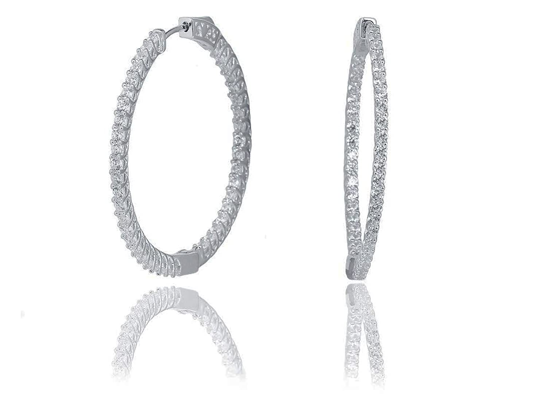NYC Sterling Women Cubic Zirconia In & Out Hoop Earrings