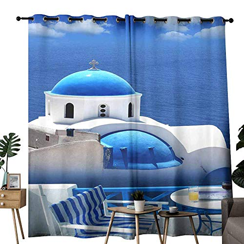 222 Bell Scale - duommhome Decorative Curtains for Living Room Church Bells on Santorini Island Privacy Protection W120 x L96 Greece