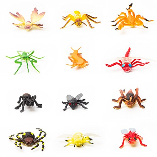 Fun Central AU193 144 Pieces Assorted Insects and Bugs Figures, Plastic Insects and Bugs Toys, Insects and Bugs Figures for Kids -