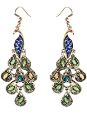 Pair of Stunning Antique Oriental Style Long Peacocks Shapes Earrings With Bronze Needles And Rhinestones Crystals Gems Studded Feathers In Blue, Green And Yellow By VAGA©