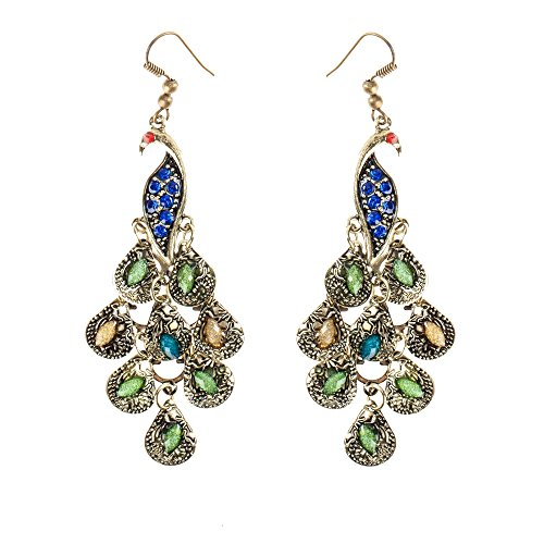 - Pair of Stunning Antique Oriental Style Long Peacocks Shapes Earrings With Bronze Needles And Rhinestones Crystals Gems Studded Feathers In Blue, Green And Yellow By VAGA©