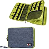 Travel Organizer, BUBM Universal Double Layer Travel Gear Organizer / Electronics Accessories Bag / cable organizer/Battery Charger carrying Case-Blue