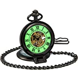 SEWOR Vintage Skeleton Mens Pocket Watch Luminous Case Mechanical Hand Wind with Brand Leather Gift Box (Stand Up Black)