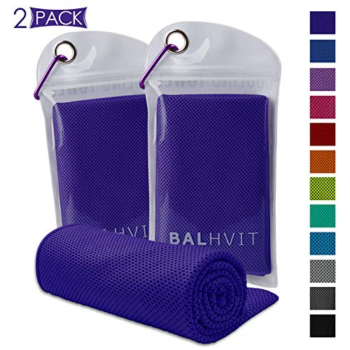- Balhvit [2 Pack Instant Relief Cooling Towel, Ice Towel, Microfiber Towel, Use as Chilly Neck Headband Bandana Scarf, Cool Cold Towels for Yoga Beach Travel Sports Running Camping