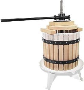 Fruit Apple Cider Wine Press-3.17 Gallon/12L- Solid Wood Basket-6 Press Wooden Blocks-Pole Handle Bar for Juice,Wine,Cider-Suitable for Outdoor, Kitchen and Home