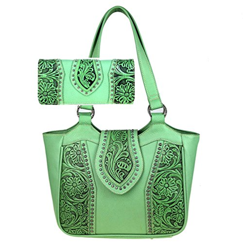 Trinity Ranch by Montana West Concealed Carry Purse Wallet Set Floral Tooled Tote TR39G-8220 (Lime) by Montana West