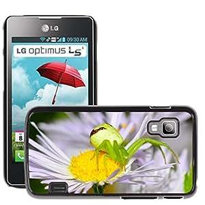 GoGoMobile Etui Housse Coque de Protection Cover Rigide pour // M00123397 Araña Insectos Verde Flor Margarita // LG Optimus L5 II Dual E455 / E460