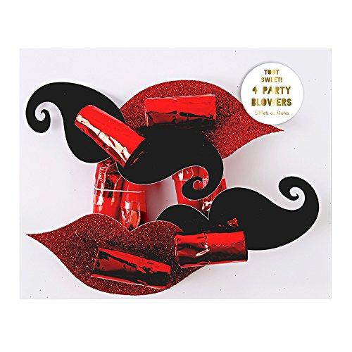 MERI MERI Toot Sweet! Moustache & Glittery Lips Party Blowers (4 Pack)