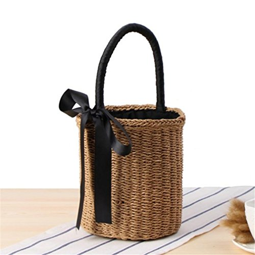 INS Knitted KS1230 Bali Bag Weaving Brown Rattan Straw Women Wicker Beach Basket Basket Amuele Bag WwqPYOgpx