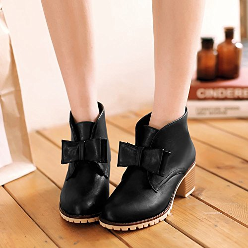 Charm Foot Womens Fashion Chunky Heel Lace up Ankle Booties Black j55f8MQ
