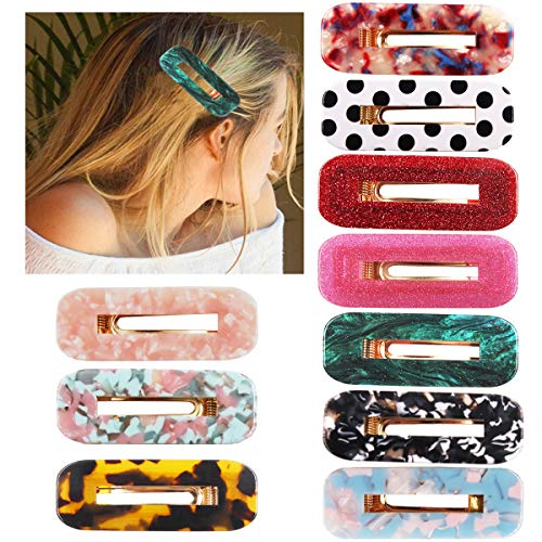 10PCS Acrylic Hair Clips Glitter Hair Barrettes Fashion Leopard Print Hairpins Vintage Fashion Hair Accessories for Lady Women(Gold Duckbill Clips)