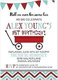 Fun Little Red Wagon Children Birthday Invitations