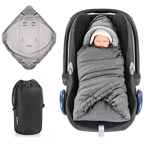 Zamboo Einschlagdecke Für Babyschale Und Kinderwagen Praktische Alternative Zum Baby Winter Fußsack Weiches Und Wattiertes Thermo Fleece Grau Basic Baby