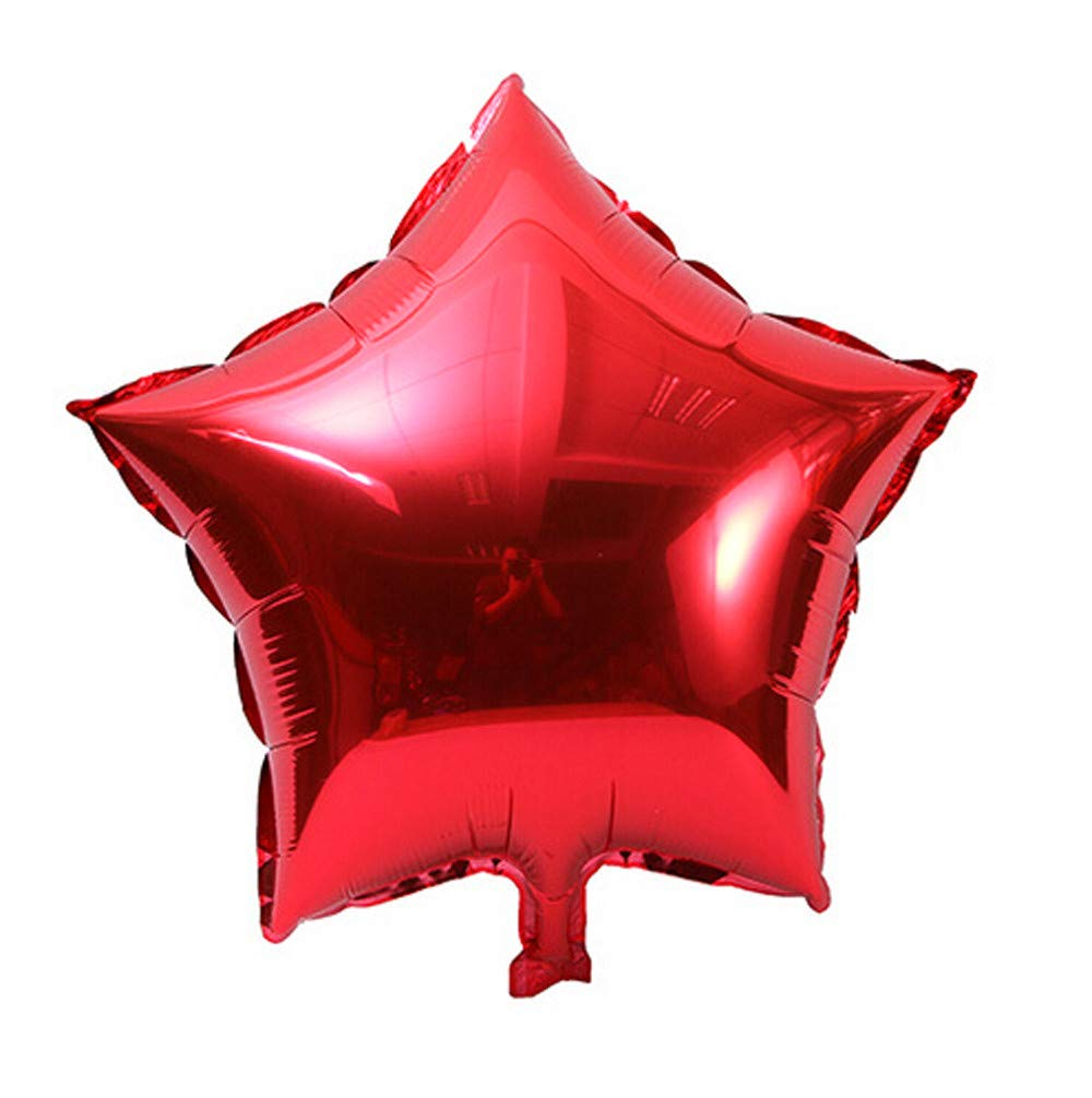 Jeeke 5 Pcs 18 inch Foil Star Balloons Decor for Wedding Party Baby Shower Birthday Decor (Red, 5 Pcs/Set)