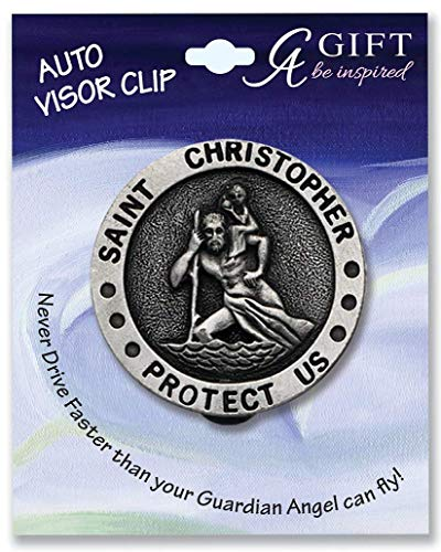 N2M Pewter Saint Christopher Protect Us Visor Clip for Car - Truck - RV - Automobile - Great Gift