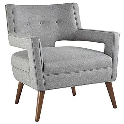 Modway Sheer Upholstered Fabric Mid-Century Modern Accent Lounge Arm Chair in Light Gray - MID-CENTURY ARMCHAIR - A sophisticated piece to complement a variety of contemporary décors, Sheer is a striking addition with its flared arms, button-tufted detail, chic cutouts, and tailored profile FINE UPHOLSTERY - Covered in durable polyester fabric, this upholstered armchair is heightened by the subtle piped trim. An intriguing modern design, Sheer emboldens the look of contemporary spaces MODERN ACCENT CHAIR - An elegant place to rest and relax, this modern lounge chair is suitable for the living room, bedroom, home office, or entryway, making a bold statement wherever it sits - living-room-furniture, living-room, accent-chairs - 51sXhCK9U%2BL. SS400  -