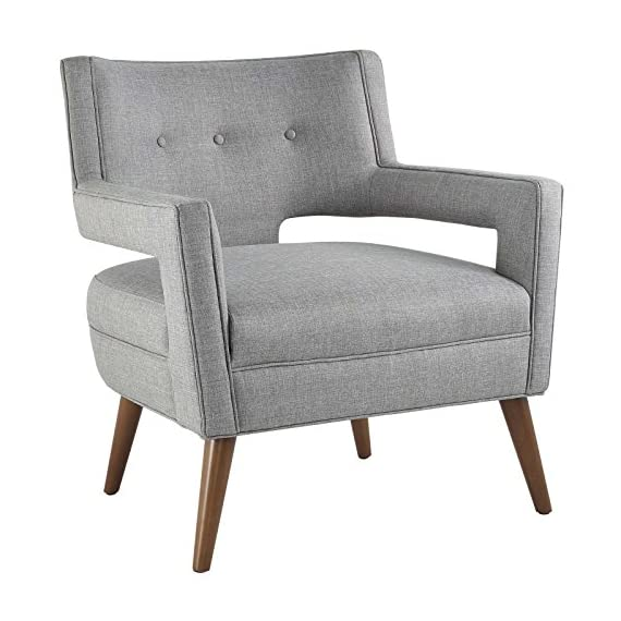 Modway Sheer Upholstered Fabric Mid-Century Modern Accent Lounge Arm Chair in Light Gray - MID-CENTURY ARMCHAIR - A sophisticated piece to complement a variety of contemporary décors, Sheer is a striking addition with its flared arms, button-tufted detail, chic cutouts, and tailored profile FINE UPHOLSTERY - Covered in durable polyester fabric, this upholstered armchair is heightened by the subtle piped trim. An intriguing modern design, Sheer emboldens the look of contemporary spaces MODERN ACCENT CHAIR - An elegant place to rest and relax, this modern lounge chair is suitable for the living room, bedroom, home office, or entryway, making a bold statement wherever it sits - living-room-furniture, living-room, accent-chairs - 51sXhCK9U%2BL. SS570  -