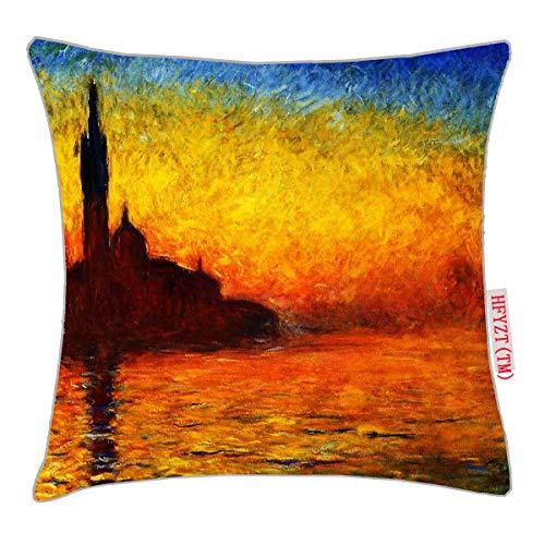 HFYZT Claude Monet-Sunset in Venice Standard Throw Pillowcase 18X18 Inch Claude Monet Sunset In Venice