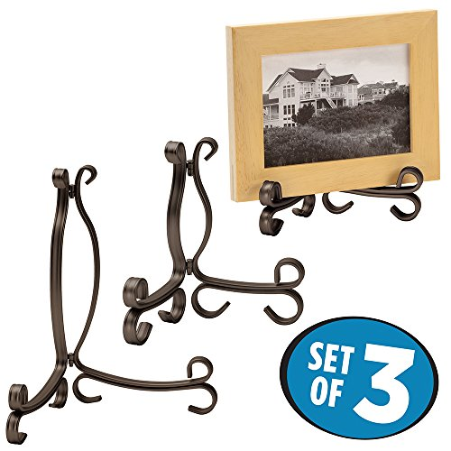 [mDesign Collectible Display Set, Easles - Set of 3, Bronze] (Bronze Easel Stand)
