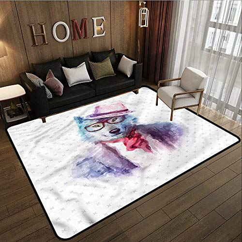 Non-Slip Rug Funny Hipster Wolf Dog in Glasses Children Crawling Bedroom Rug 3'11