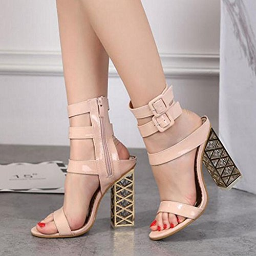 con GAOLIXIA altos cristal de Pink tacón Verano Open PU sandalias Rosado Shoes Tacones Black Nuevo Comfort Toe grueso aUwqXfd