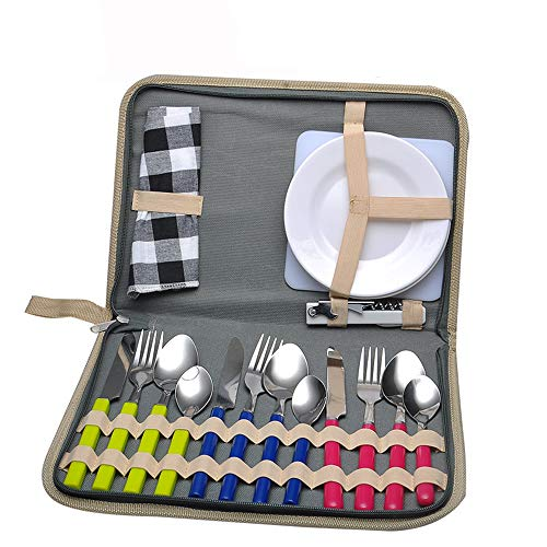 Camping Mess kit Picnic Set - 17 Piece Camping Utensils - PS Plastic Plate Stainless Steel Fork Spoon Ice Clip and Serrated Knife Wine Opener Fork Hiking