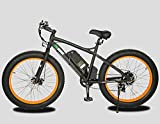 "26"" Updated Fat Tire Electric Bike Beach Snow Bicycle 4.0 inch Fat Tire ebike 500W Black/Orange Lithium Battery Electric Mountain Bicycle with Shimano 7 Speeds"