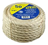 T.W Evans Cordage 23-205 1/4-Inch by 50-Feet Twisted Sisal Rope