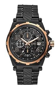 GUESS Men's U0243G2 Cutting Edge Black & Rose Gold-Tone Chronograph Sport Watch