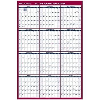Amazon.com : AT-A-GLANCE Wall Calendar 2017, Erasable, Reversible ...