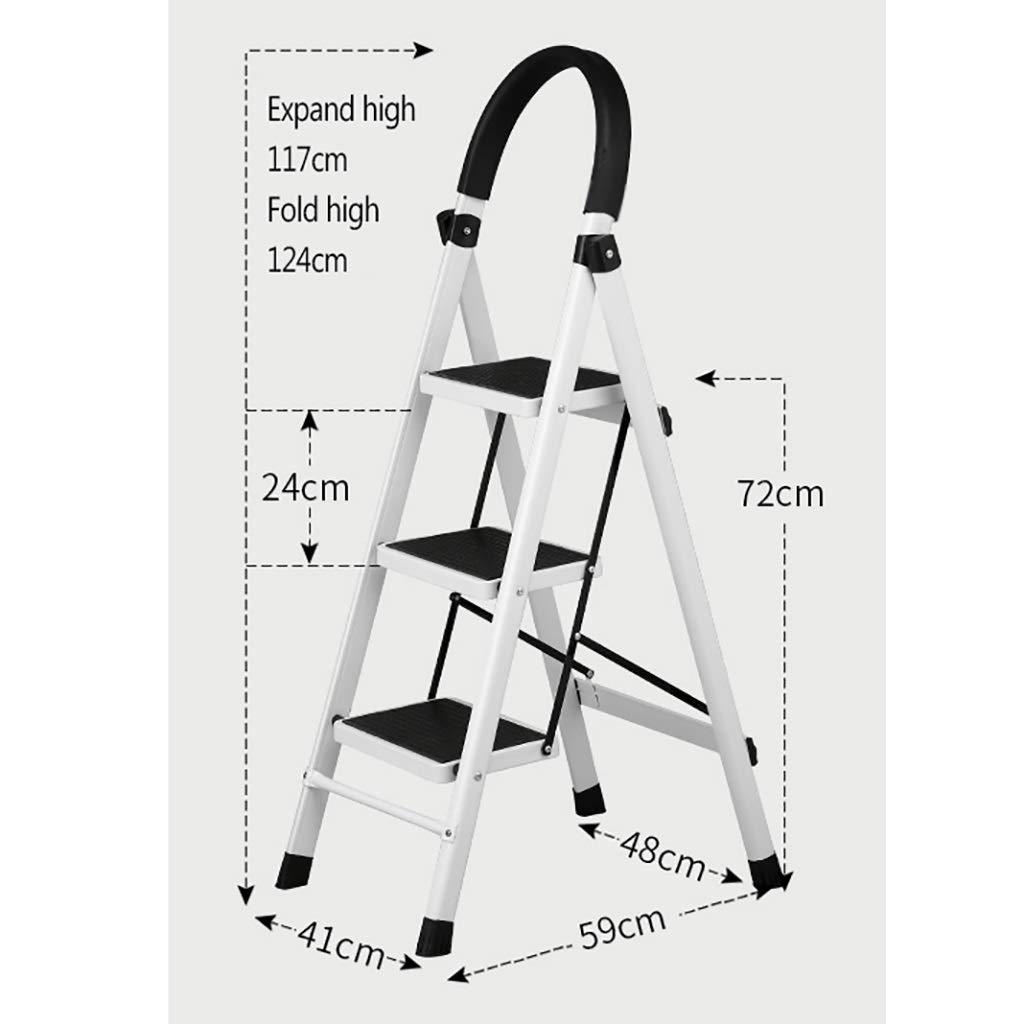 Stepladder /Échelle robuste pliante portative en acier /à 3 marches // 4 marches // 5 marches repose-pieds escabeau /à usage domestique antid/érapant escabeau pliant en m/étal for escabeau