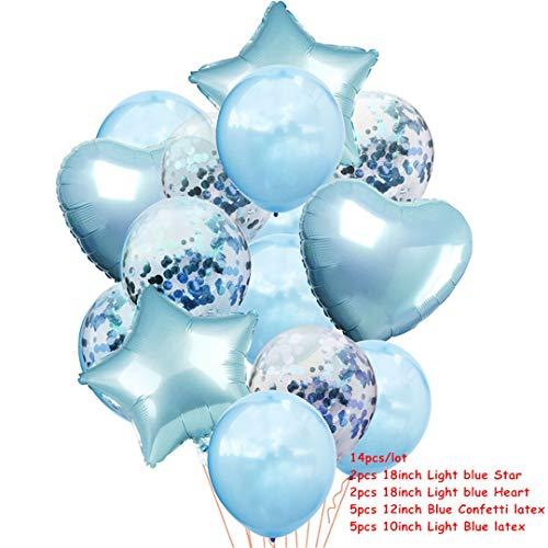 14Pcs Multi Confetti Air Balloons Happy Birthday Party Rose Gold Helium Balloon Decoration Wedding Festival Balon Party Supplies Blue Confetti]()
