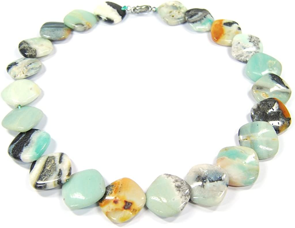 Collar de piedras preciosas Amazonita en forma de cuadrado redondeado
