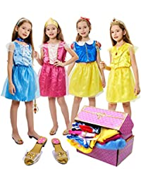 17 Pcs Girls Princess Dress Up Trunk Role Play Cosplay Set with Princess Shoes Crown Accessories Princess Costume for Kids Age 3-6 Years Blue