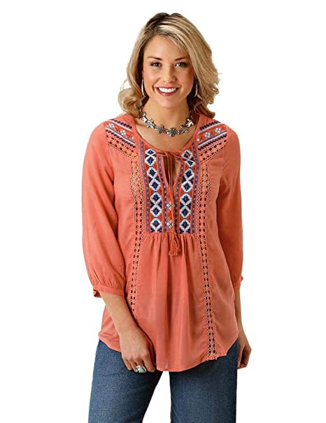 Amazon.com: Roper para mujer 1568 algodón sólido rayón blusa ...