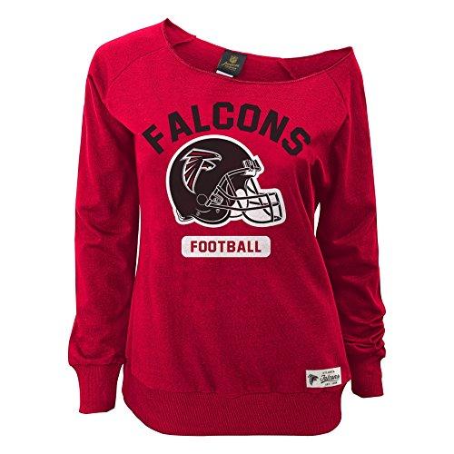 NFL Junior Girls Wide Receiver Long Sleeve Boat Neck Sweatshirt, Atlanta Falcons, Crimson, M(7-9)